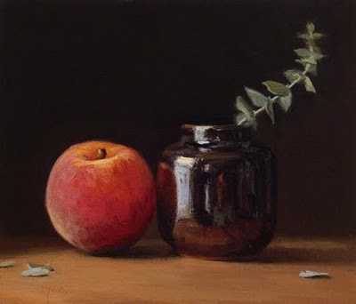 """Still Life with Peach, Ink Bottle, and Eucalyptus"" original fine art by Abbey Ryan"