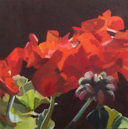 """""""Geraniums"""" original fine art by Rebecca Helton"""