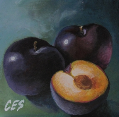 """Plums"" original fine art by ~ces~ Christine E. S. Code"