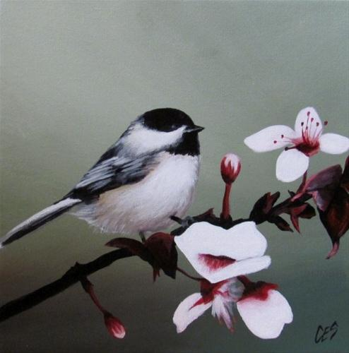"""Chickadee and Blossoms"" original fine art by ~ces~ Christine E. S. Code"