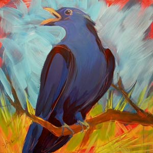 """Crow in the Grass 11"" original fine art by Pam Van Londen"