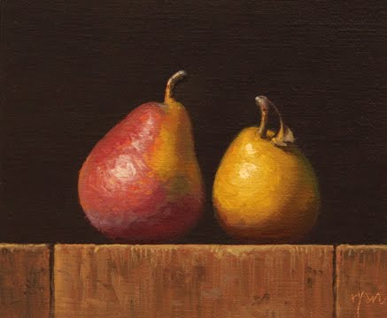 """Two Seckel Pears No. 2"" original fine art by Abbey Ryan"