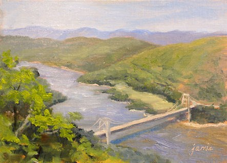 """Looking Over the Bear Mountain Bridge"" original fine art by Jamie Williams Grossman"