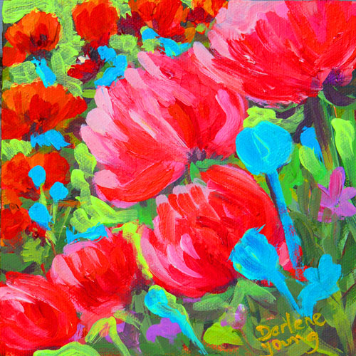 """Beacon Hill Poppies, acrylic on panel, 6x6in"" original fine art by Darlene Young"
