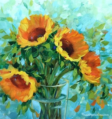 """Blue Fire Sunflowers - Flower Painting Classes and Worksh"" original fine art by Nancy Medina"