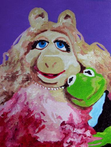 """Miss Piggy & Kermit"" original fine art by Nan Johnson"