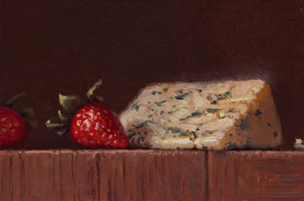 """Still life with Strawberries and Danish Bleu  (+ Upcoming Announcement)"" original fine art by Abbey Ryan"