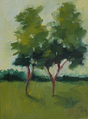 """Two Trees Against Yellow"" original fine art by Pamela Munger"