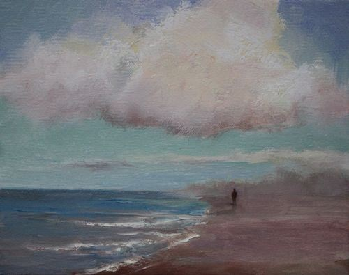 """Solitary Walk, Seascape Paintings by Arizona Artist Amy Whitehouse"" original fine art by Amy Whitehouse"