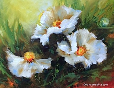 """Sunshine Trio White Poppies - Flower Paintings by Nancy Medina"" original fine art by Nancy Medina"