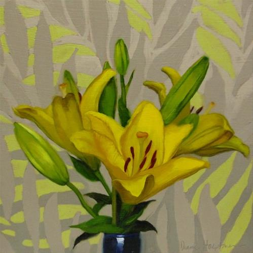 """Lilies on Leaf Pattern and an Art Exhibit at Lakeland Community College"" original fine art by Diane Hoeptner"