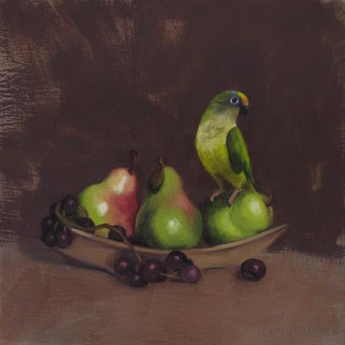 """Bird and Pears, new small still life, conure painting"" original fine art by Diane Hoeptner"