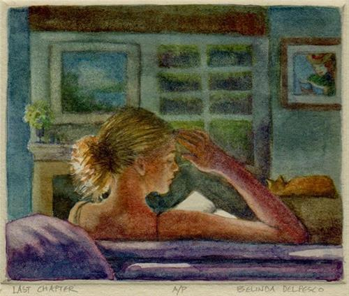 """Etching: Last Chapter (& Thousand Oaks [CA] Artwalk this weekend)"" original fine art by Belinda Del Pesco"
