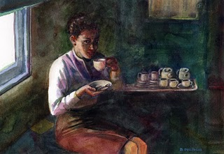 """Watercolor: Coffee on the Train"" original fine art by Belinda Del Pesco"