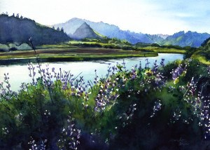 """Lupine by Ten Miles River"" original fine art by Mariko Irie"