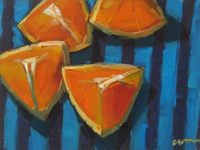 """Orange Stripes"" original fine art by Carol Marine"