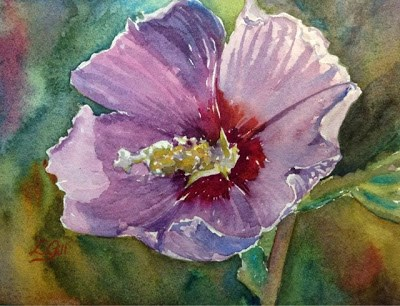 """Day 26 - Purple Althea"" original fine art by Lyn Gill"