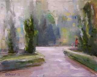 """Walk in the Park"" original fine art by Christina Dowdy"
