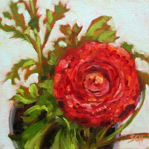 """Red ranunculus"" original fine art by Sandy Haynes"