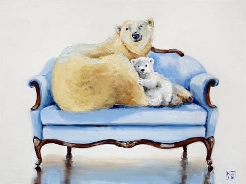 """happy new bear"" original fine art by Kimberly Applegate"