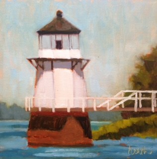"""Doubling Point Light House"" original fine art by Bobbi Heath"
