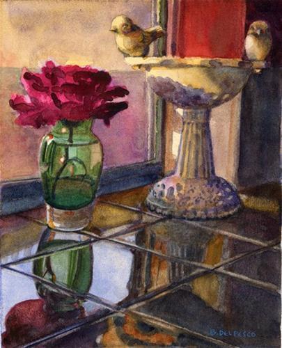 """""""Watercolor: Birds on my Counter"""" original fine art by Belinda Del Pesco"""