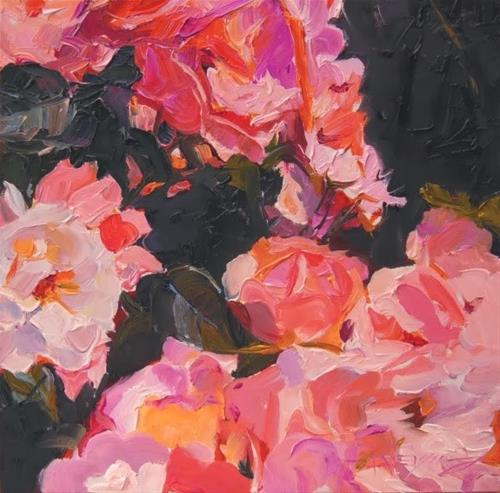 """Leigh's Roses  rose oil painting by Robin Weiss"" original fine art by Robin Weiss"