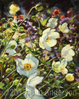 """Oil painting: Windflower"" original fine art by Deb Anderson"