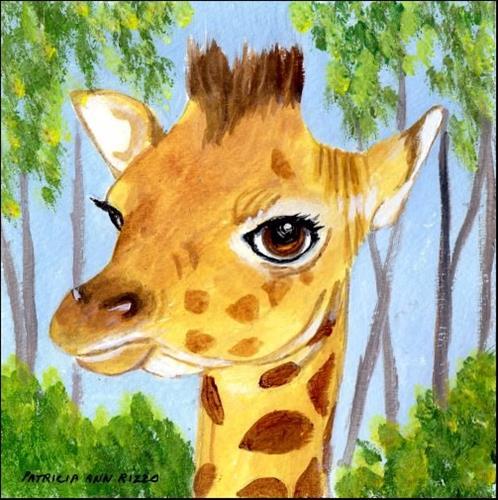 """Baby Giraffe"" original fine art by Patricia Ann Rizzo"