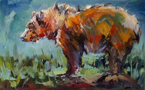 """BEAR STARE WILDLIFE OIL PAINTING BY DIANE WHITEHEAD FINE ART"" original fine art by Diane Whitehead"