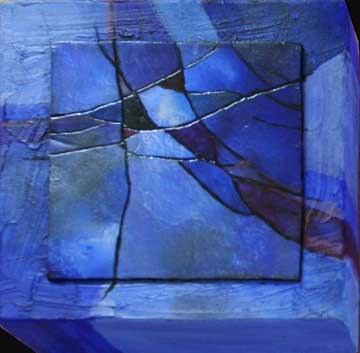 """Little Blue Abstract"" original fine art by Kara Butler English"