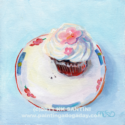 """Emily's Cupcake"" original fine art by Kimberly Santini"