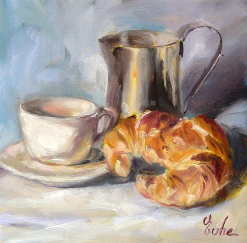 """café croissant"" original fine art by Evelyne Heimburger Evhe"