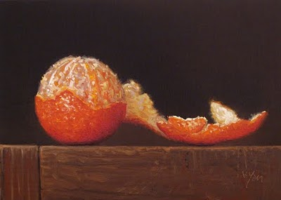 """Tangerine with Peel No. 4"" original fine art by Abbey Ryan"