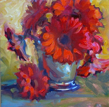 """Red Flowers"" original fine art by Karen Bruson"