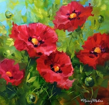 """A New Poppy Video - Some Like It Hot Red Poppies -Flower Paintings by Nancy Medina"" original fine art by Nancy Medina"