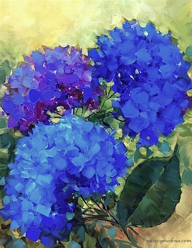 """Three of a Kind Blue Hydrangeas - Nancy Medina Art Videos and Classes"" original fine art by Nancy Medina"