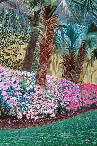 """""""Azaleas & Palms"""" original fine art by Alan Mintz"""