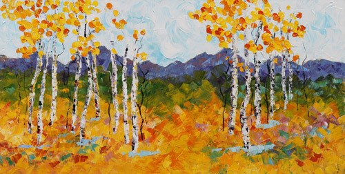 """Palette Knife Aspen Tree Impressionist Landscape Painting Autumn Weekend by Colorado Impressionist"" original fine art by Judith Babcock"