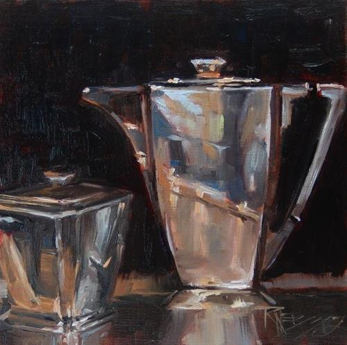 """Art Deco Coffee Pot still life painting by Robin Weiss"" original fine art by Robin Weiss"