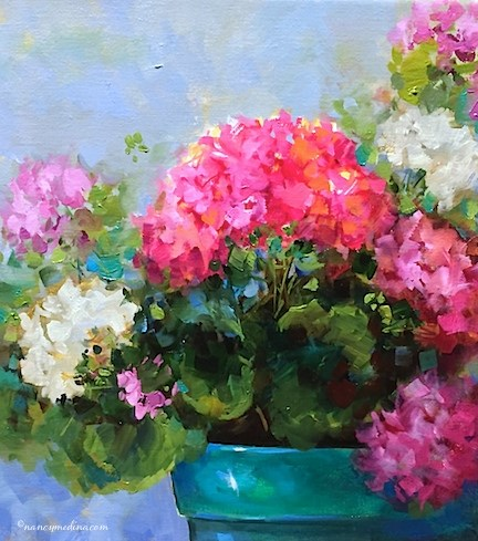 """Spring Sparkle Geraniums and Caught in a Flower Painting Love Triangle - Nancy Medina Art"" original fine art by Nancy Medina"