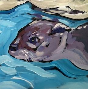 """""""Swimming Profile"""" original fine art by Kat Corrigan"""