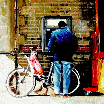 """ATM- Street Scene Painting Of Man WIth Bike In Front Of ATM Machine"" original fine art by Gerard Boersma"