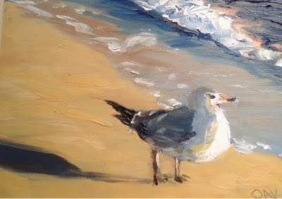 """Seabirds 7"" original fine art by Debra Kennedy"