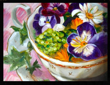 """Teacup of Pansies"" original fine art by Linda Dunbar"