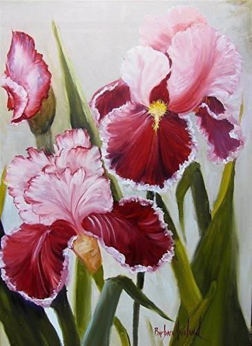 """Iris in Burgundy and White  Oil Painting"" original fine art by Barbara Haviland"