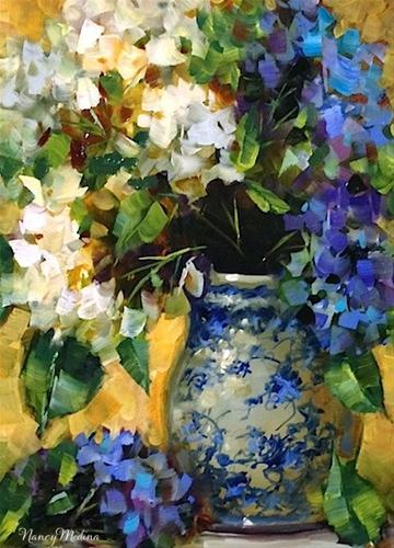 """Home Grown Hydrangeas by Texas Flower Artist Nancy Medina"" original fine art by Nancy Medina"