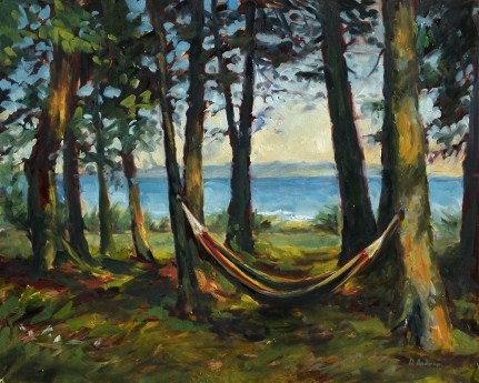 """Oil painting of a hammock"" original fine art by Deb Anderson"
