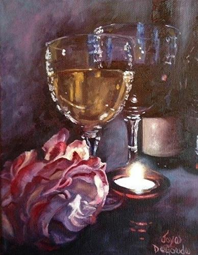 """Chiaroscuro Wine & Rose #7 by Joye DeGoede"" original fine art by Joye DeGoede"