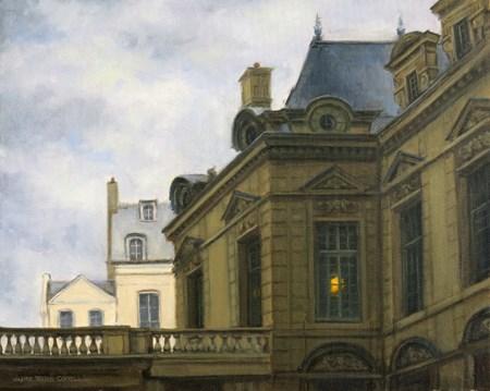 """""""SOLD 'Misty Morning in Le Marais' Il Commencé à Paris Series An Original Oil Painting by Claire Bead"""" original fine art by Claire Beadon Carnell"""